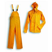 Water proof jacket with hood and bib-trouser