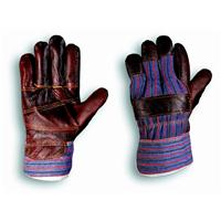 LEATHER GLOVE REINFORCED PALM FABRIC BACK